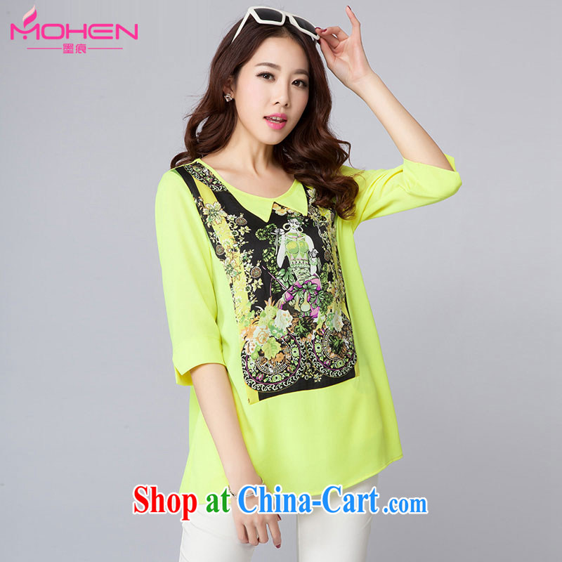 The ink marks 2015 spring and summer new, large, stylish girl with stylish personalized registration stamp duty snow woven shirts cute dolls for thick snow MM woven T-shirt Green Green 4 XL _145 - 155 _ jack