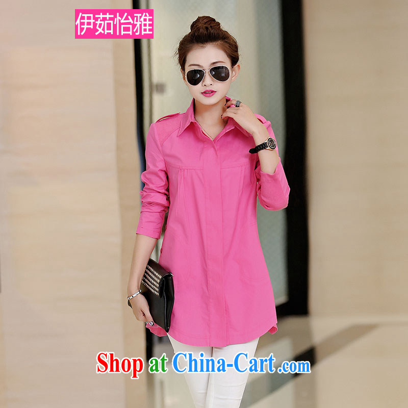 The Ju-Yee Nga 2015 spring Korean knitting stitching leisure long-sleeved cotton larger female shirt RZ 5063 by red XXXL