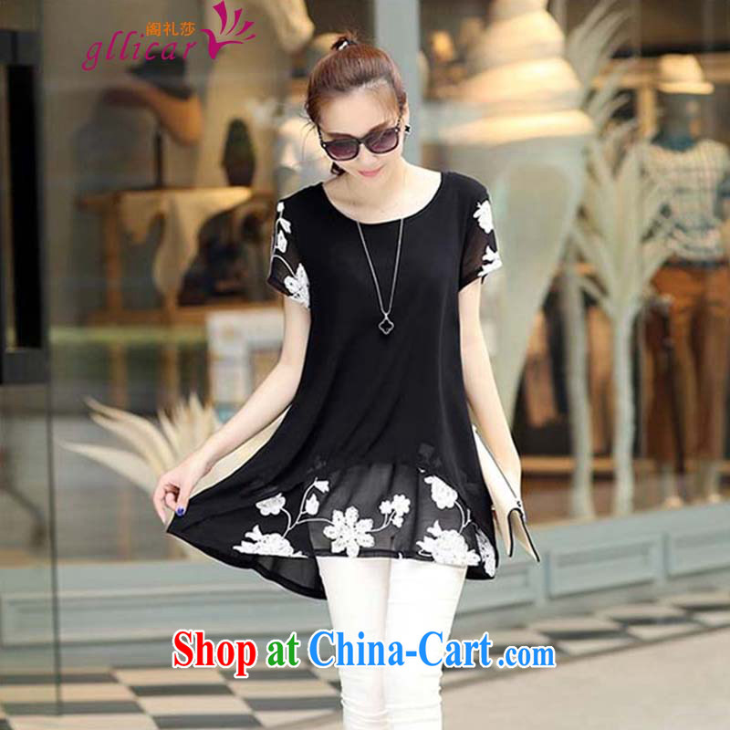 ge lai Mona Lisa 2015 summer New, and indeed increase, female snow woven shirts girls dresses DDS 019 black 3 XL