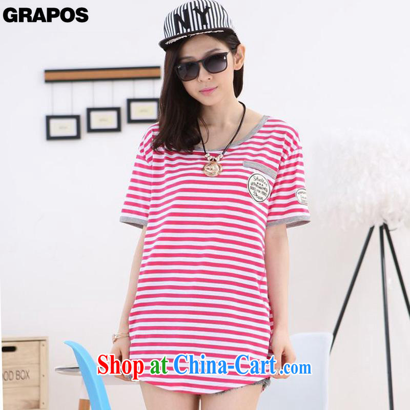 GRAPOS 2015 spring new liberal short-sleeve, long streaks XL solid T pension female DM 011 red XXXL
