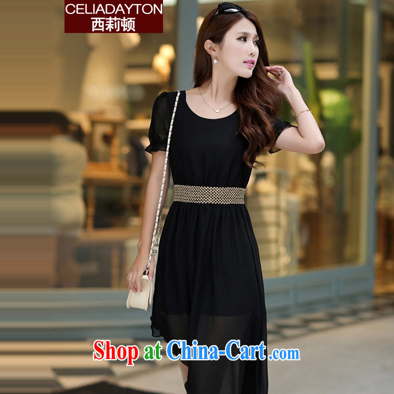 Ms. Cecilia Clinton's 2015 summer new thick mm short-sleeved Korean version, long, irregular snow woven dresses the fat increase, fat sister 200 Jack even skirt black 5 XL