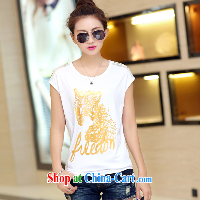 The Estee Lauder maximum code female summer short-sleeved thick sister 2015 new Korean video thin thick mm short-sleeve T-shirts solid shirt and indeed 200 Jack white XL _recommendations 120 - 150 jack_
