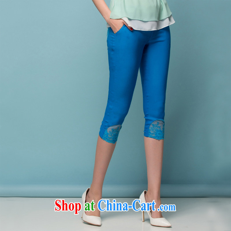 The Code women mm thick spring Korean video thin 7 trousers castor pencil pants MOM summer New boutique - YY 299,700 blue 4 XL code