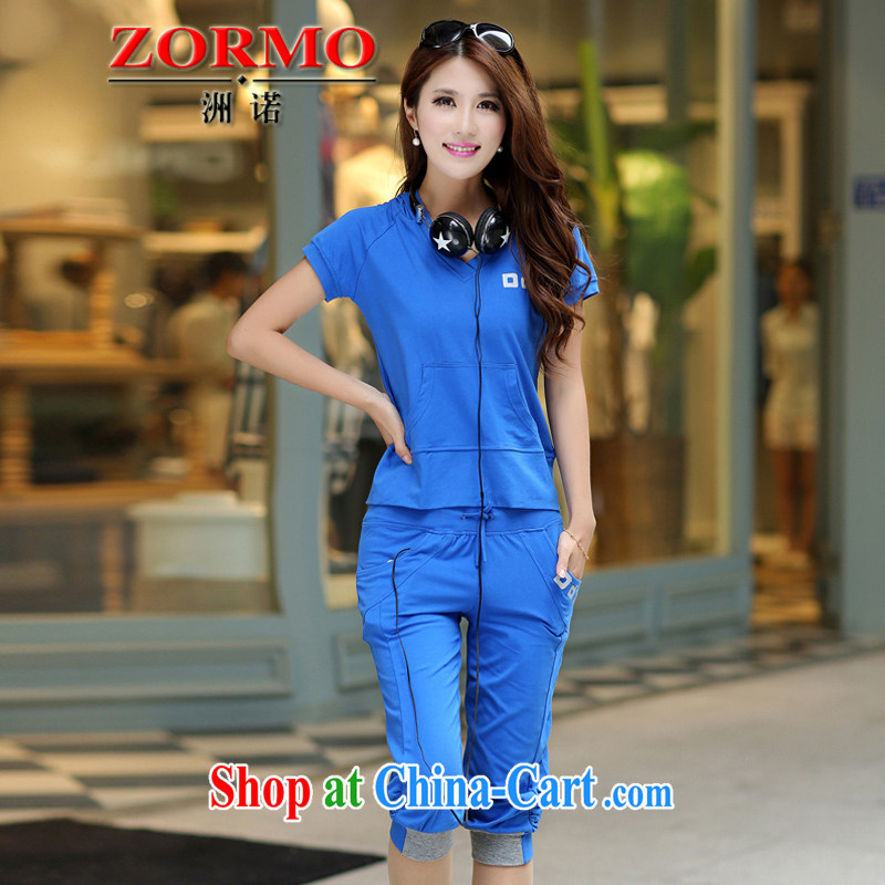 ZORMO Korean version the code female Leisure package thick mm King Size T-shirt +7 pants 2-piece set campaign kit blue 5 XL 180 - 200 jack