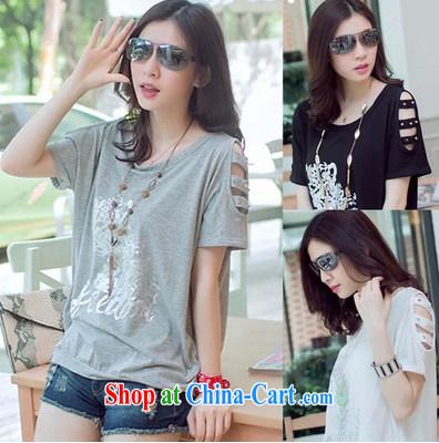 Summer long, your shoulders short-sleeved shirt T loose the code casual women bat T-shirt T-shirt 31,013 light gray XL
