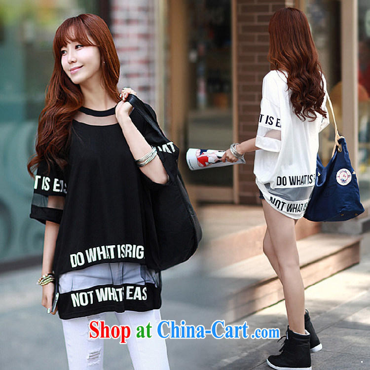 New Korean version the code female loose lace cotton T-shirt 7 shirts video thin solid shirt 31,008 black XL