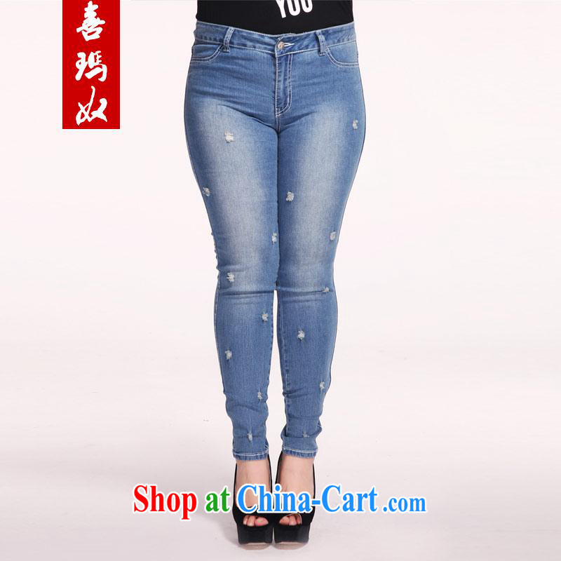 Hi Princess slave new summer, indeed the XL female stylish hole cotton stretch castor jeans M 98,769 blue 40 180 Jack the following concepts