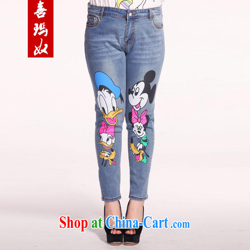 Hi Margaret slavery summer new thick sister larger female decoration, graphics skinny legs jeans card pattern 9 pants M 21,179 blue 40