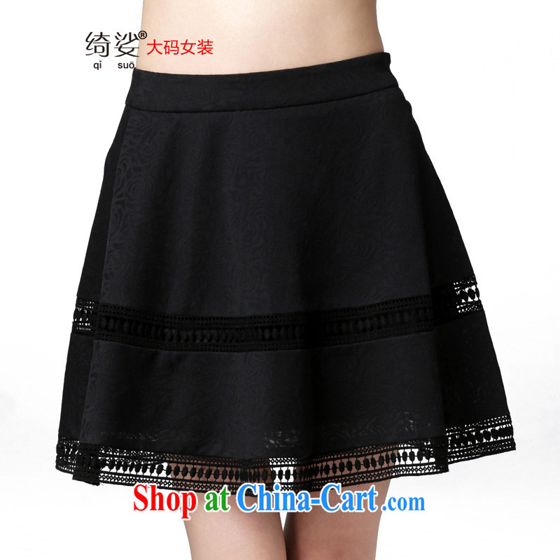 Most of the 2015 code female thick MM spring and summer new and indeed graphics thin body skirt stylish short skirts 2657 black 3 XL