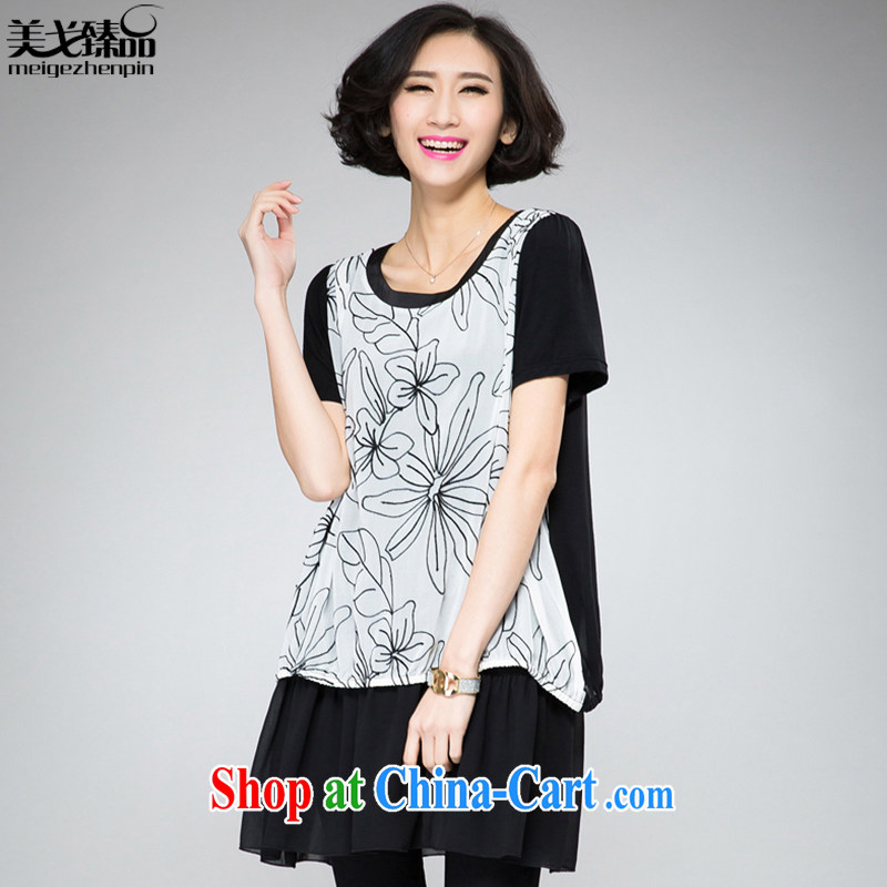 The Gore level, Korean edition 2015 summer new, larger women mm thick snow woven graphics thin leave of two garment black 4XL