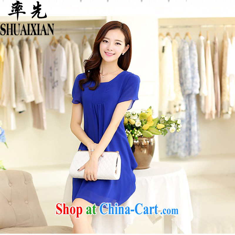 First summer 2015 new thick mm and indeed increase Korean version cultivating graphics thin short-sleeve snow woven relaxed dress 6867 elegant blue XXXXL