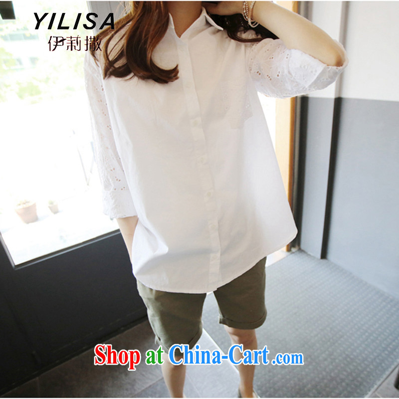 YILISA new Korean summer larger blouses shirt thick MM summer 200 Jack leisure loose 100 ground biological air dry the clothes H 5111 white XXXL for 165 - 200 jack