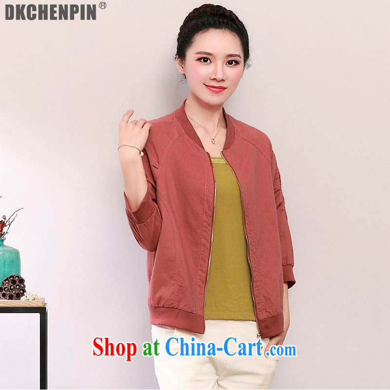 2015 DKchenpin larger female 100 ground plain colored jacket jacket female Korean elderly people in the Netherlands leisure jacket girls spring orange red 3 XL