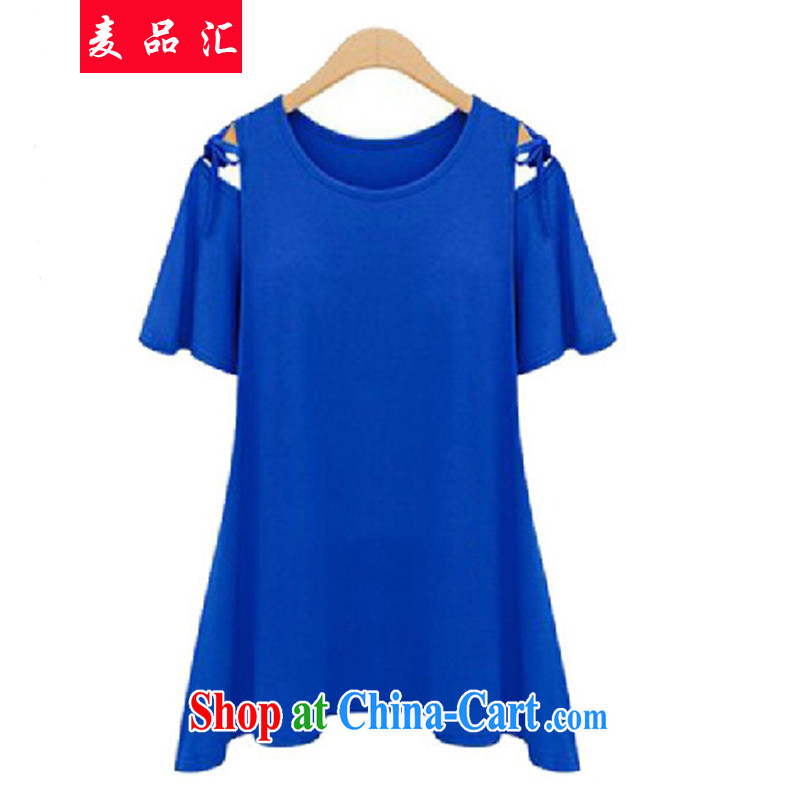 Mr MAK, by summer 2015, the United States and Europe, the female King and indeed increase code 200 Jack mm thick exposed shoulder short-sleeved T-shirt female 98,122 blue 4 XL