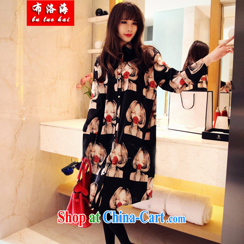 The sea 2015 spring and summer with new Korean Version Stamp larger female snow woven shirts, long, loose the fat shirt dresses women 5503 picture color XL