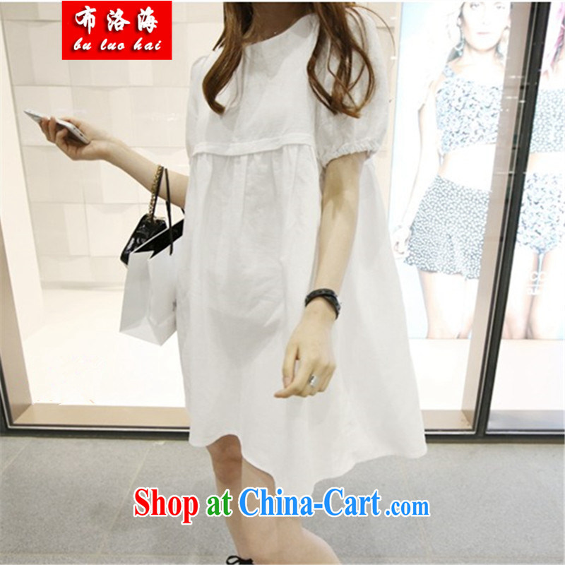 The sea 2015 summer new Korean version 100 ground units the commission relaxed pregnant women with breast-feeding dress short-sleeved large, pregnant women dress women 825 white XXL
