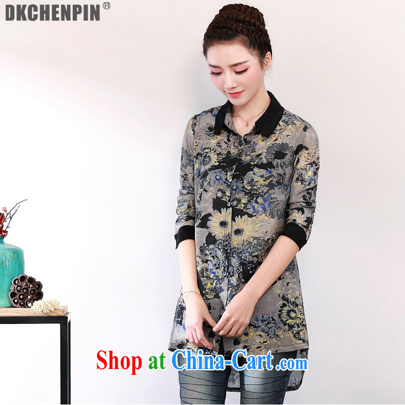 2015 DKchenpin larger female shirt new leisure relaxed, older style women's clothing, long, solid black shirt XL