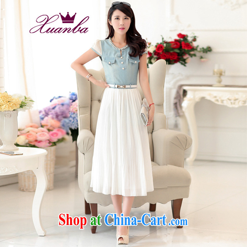 Cool hip hop is the code female Korean washable thin cowboy snow woven dresses mm thick photo color 5 XL