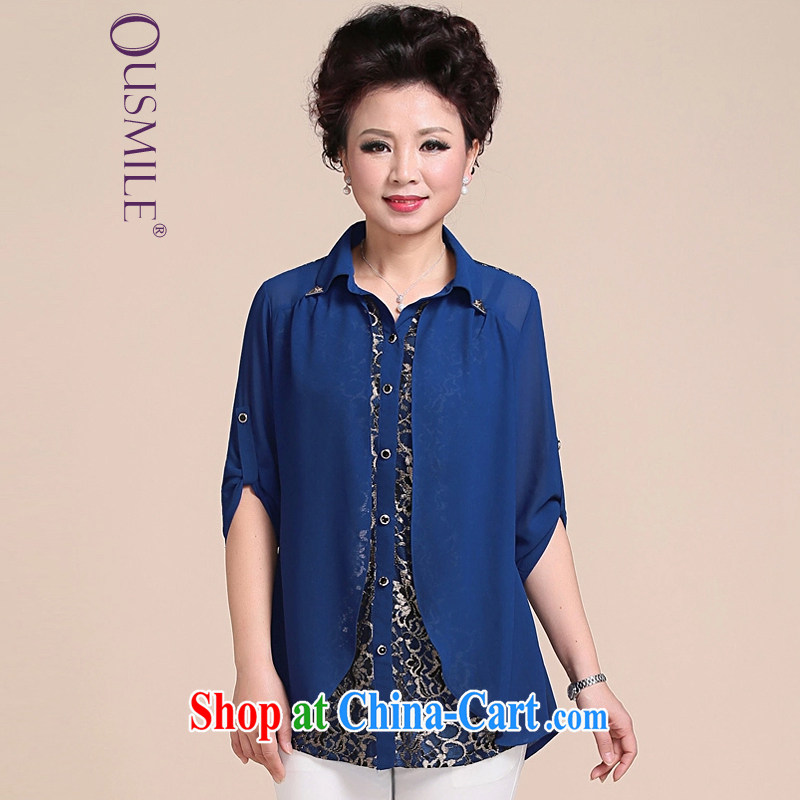 Ousmile summer 2015 new Korean fashion mother load snow woven shirts 100 cultivating a long-sleeved cardigan in the elderly, female 115 blue XL