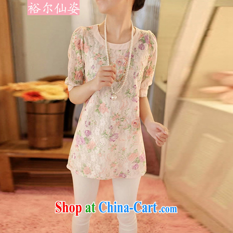 Yu's Sin City 2015 spring and summer new, cultivating the code length in Paragraph 5 sub-cuff shirt T female floral half sleeve shirts packages and thick mm solid T-shirt women T-shirt pink 3XL