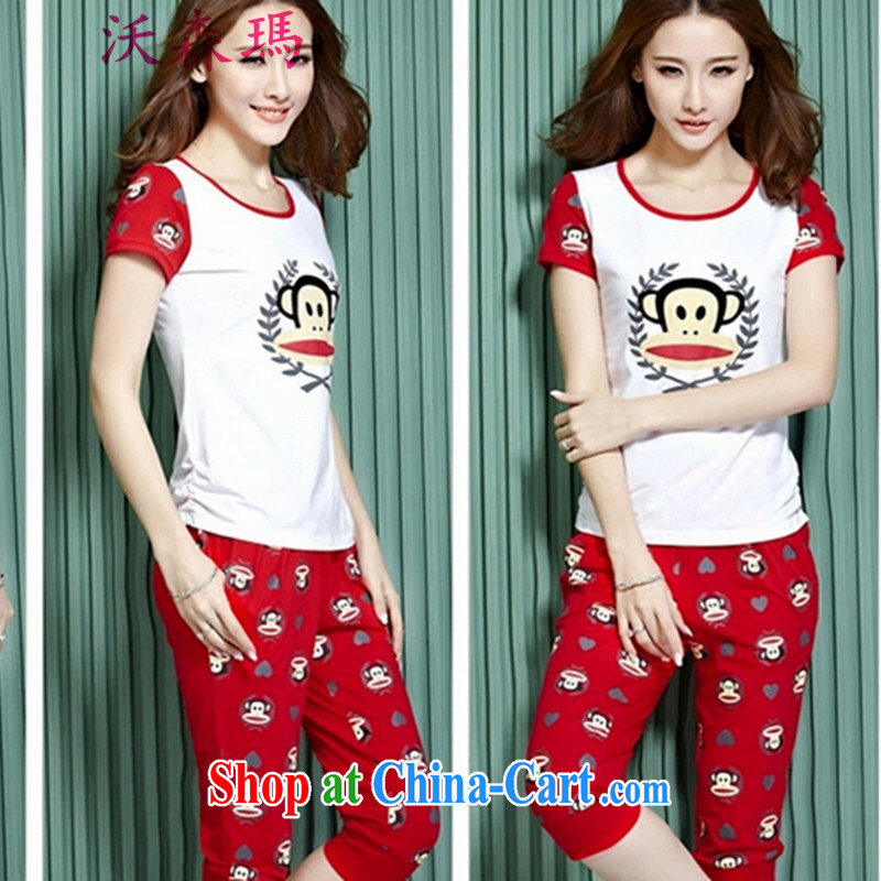 In summer, the stamp duty sweet cute female Sport Kits, summer leisure package sports wear sports wear, clothing and red XXL