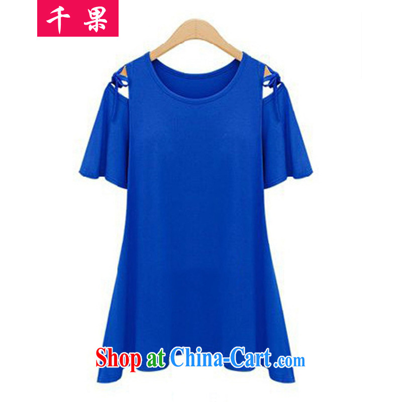 1000 fruit King, women in Europe and America with new casual shirt large, solid T-shirt summer 200 mm thick loose video thin short-sleeved T-shirt 98,122 blue 4 XL recommendations 190 jack - 210 Jack left and right