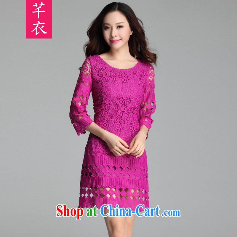 Constitution, 2015 new spring and summer beauty graphics thin XL female three-dimensional lace floral dress mm thick fat human influenza in OL cuff of color Large XL 2 135 - 150 jack