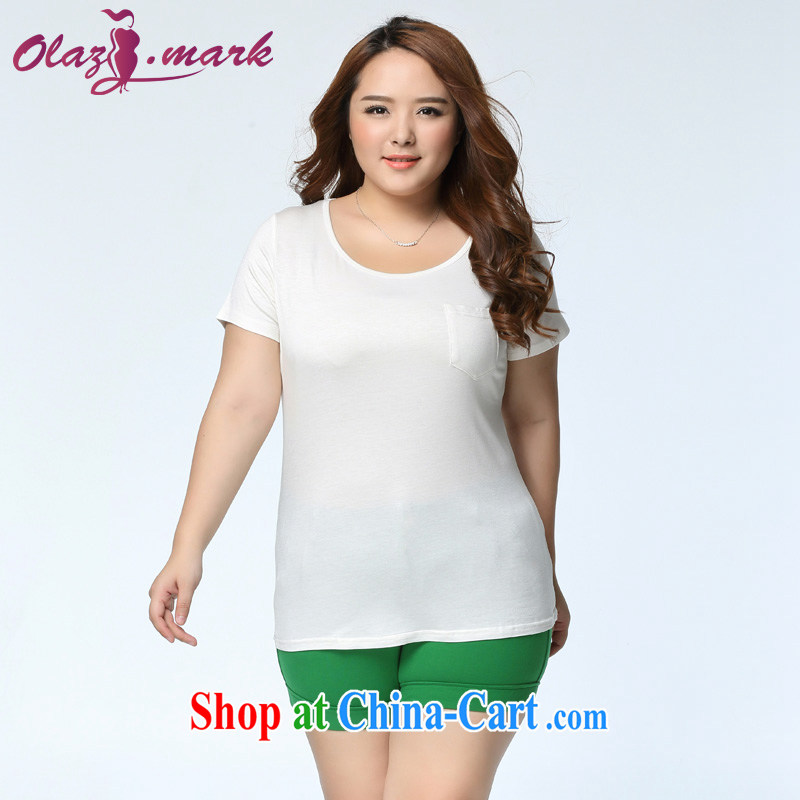 The Erez thick mm larger women 2015 New solid T-shirt loose video thin short-sleeved T shirt plain white thick sister 1113 white 3XL (recommended chest of 126 cm)