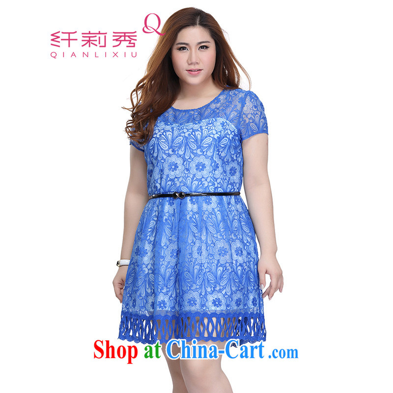 Slim LI Sau 2015 summer new, larger female Openwork lace fluoroscopy round-collar short-sleeve dresses Q 7511 blue 3 XL