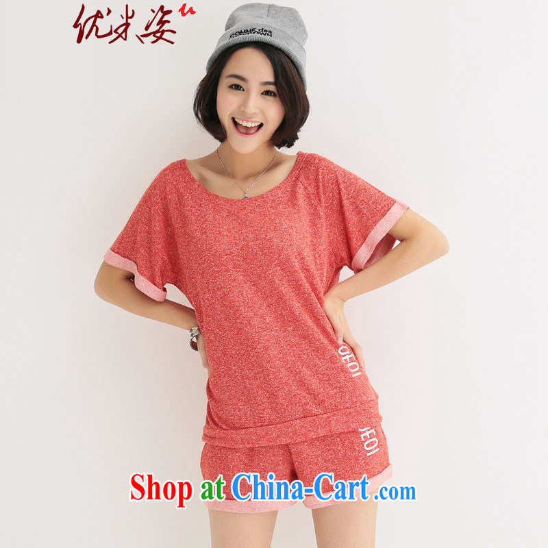 Optimize m Beauty goods to the payment package mail thick mm larger female new summer Korean Beauty graphics thin short-sleeved T shirt shorts 2 piece kit female Red 4 XL
