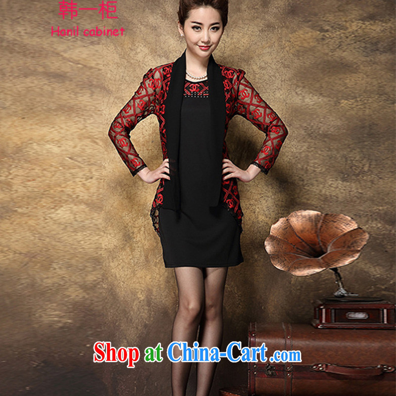 Korea a container 2015 spring in the old dress code mom with high-end graphics thin two-piece embroidered Web dress female H 52 small incense, red 2007 XXXL