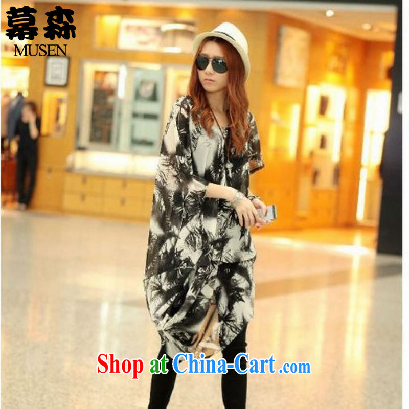 The sum 2015 summer female Korean version of the greater code very casual stamp snow in woven long-neck dresses 200 jack to wear picture color code
