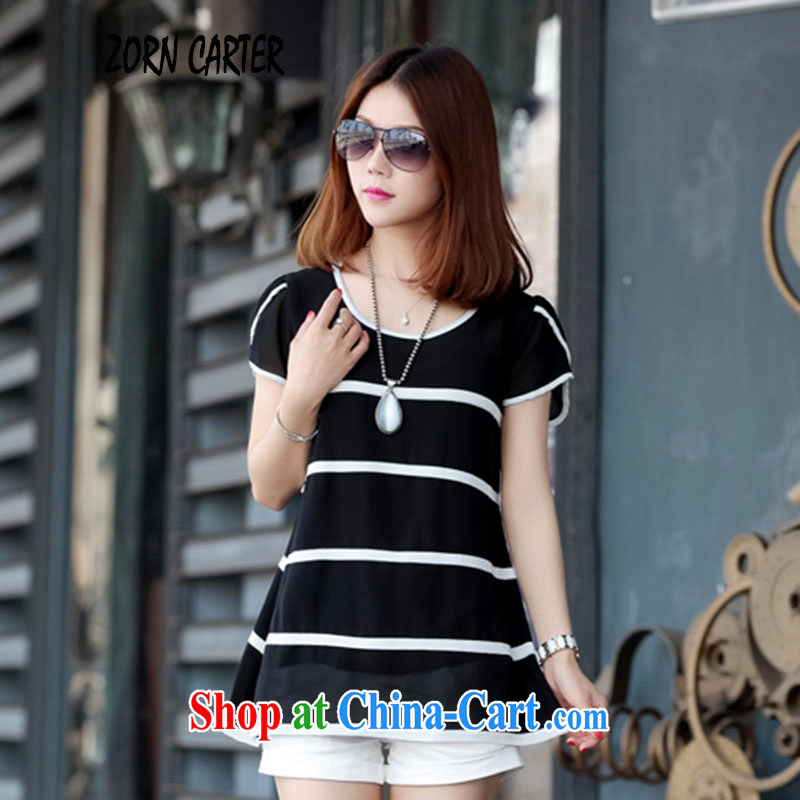 Zorn Carter summer 2015 New Beauty video thin loose XL T shirts, short-sleeved snow woven shirts 8051 black XXL