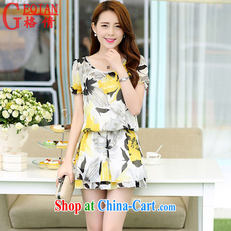 The MS 2015 new Korean version mm thick belly mask graphics thin ice woven dresses female Y 155 yellow XXL