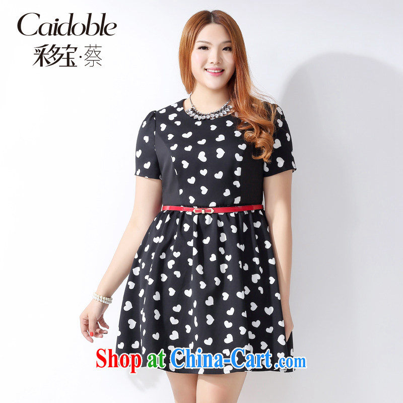 Picking a major, women's clothing 2015 spring and summer new thick MM Korean high-waist-belt small wrinkled black and white commercial heart graphics thin short-sleeved dresses Q 1061 black 3 XL