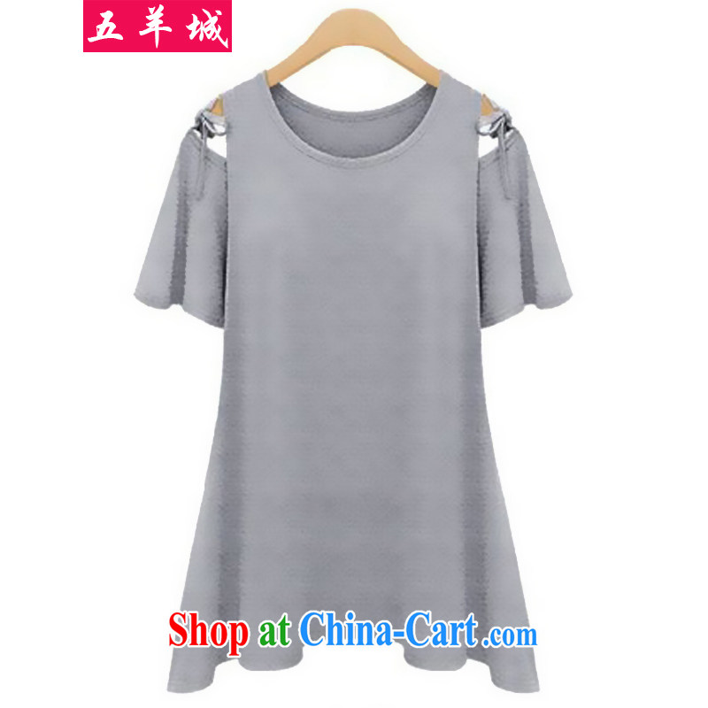Five Rams City summer 2015 new larger female summer wear thick, graphics thin beauty, T-shirt thick mm solid Casual Shirt short-sleeve T-shirt 156 gray 4 XL