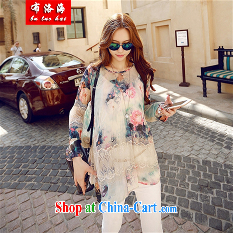 The sea 2015 summer new, loose vest long sleeved shirt T two increase the fat lace stitching stamp the Code women's clothing dresses women 1683 photo color XL