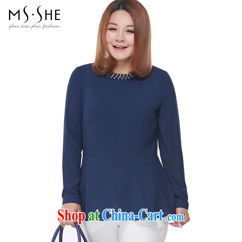 MSSHE XL ladies' 2015 spring thick MM stylish staples snow Pearl woven shirts T-shirt 2823 blue 5 XL