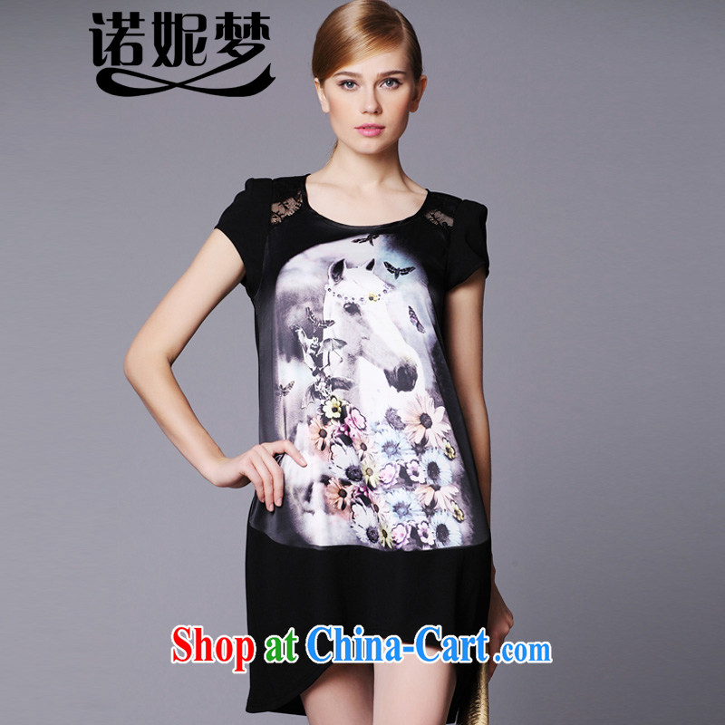 Connie's dream European and American high-end style stamp dresses 2015 new summer is indeed the XL female 200 Jack Openwork stitching graphics thin skirt A 0013 black XXXXXL