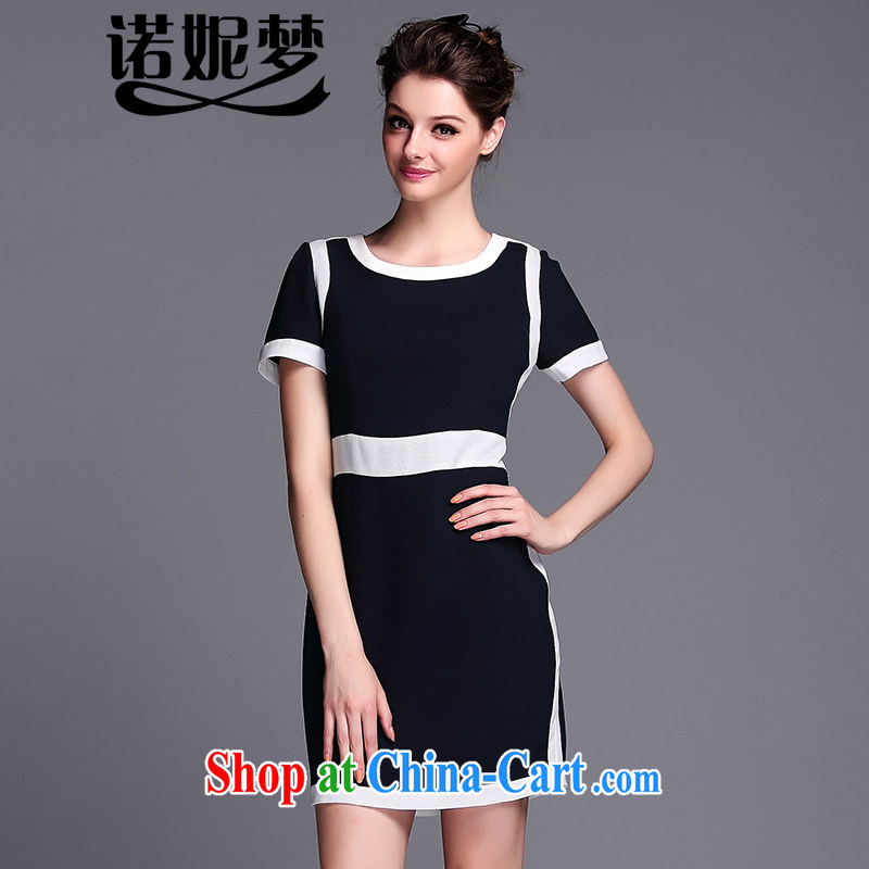 Connie's dream European and American high-end amenities and elegant graphics thin dresses 2015 new summer is indeed the XL girls and stylish knocked color stitching short-sleeved skirt A 0085 dark blue XXXXXL