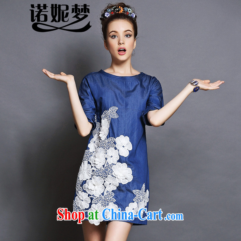 Connie's dream European and American high-end denim dress and indeed XL female 200 Jack 2015 new summer flowers three-dimensional stitching graphics thin dresses G 146 blue XXXL