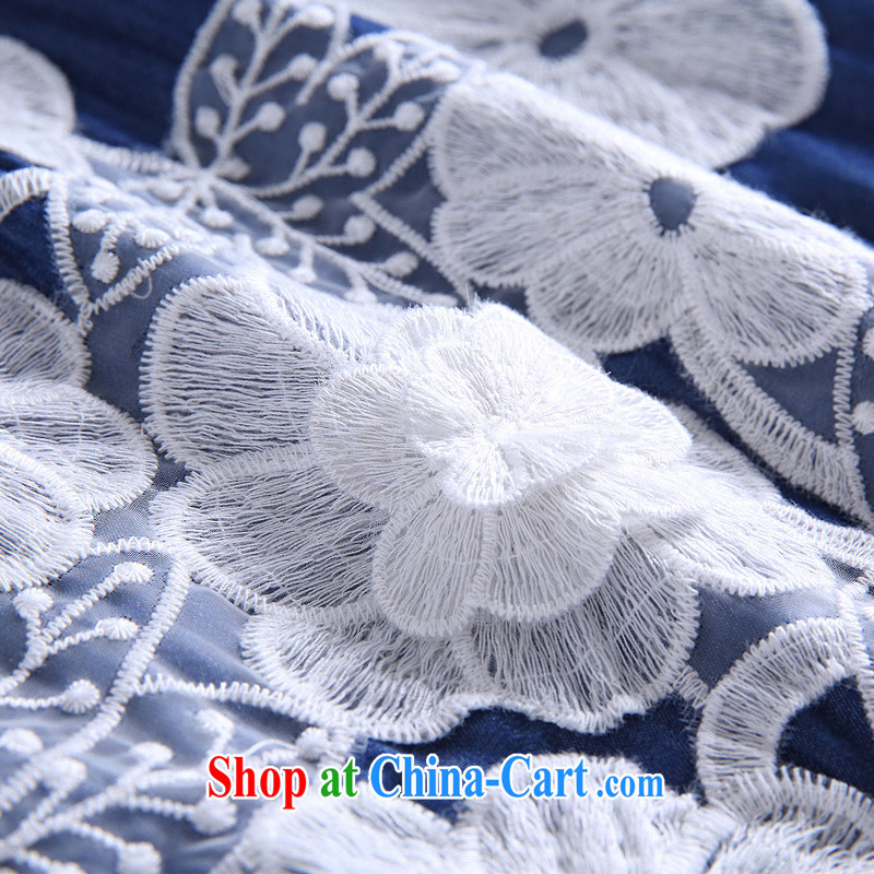 Connie's dream European and American high-end denim dress and indeed increase, female 200 Jack 2015 new summer flowers three-dimensional stitching graphics thin dresses G 146 blue XXXL, Connie dreams, and shopping on the Internet