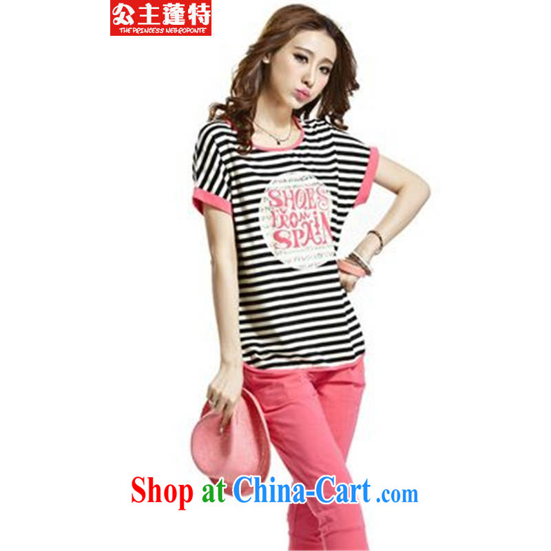 Princess Ponte 2015 campaign kit short-sleeve striped female summer larger bat sleeves Leisure package graphics thin female peach 4 XL