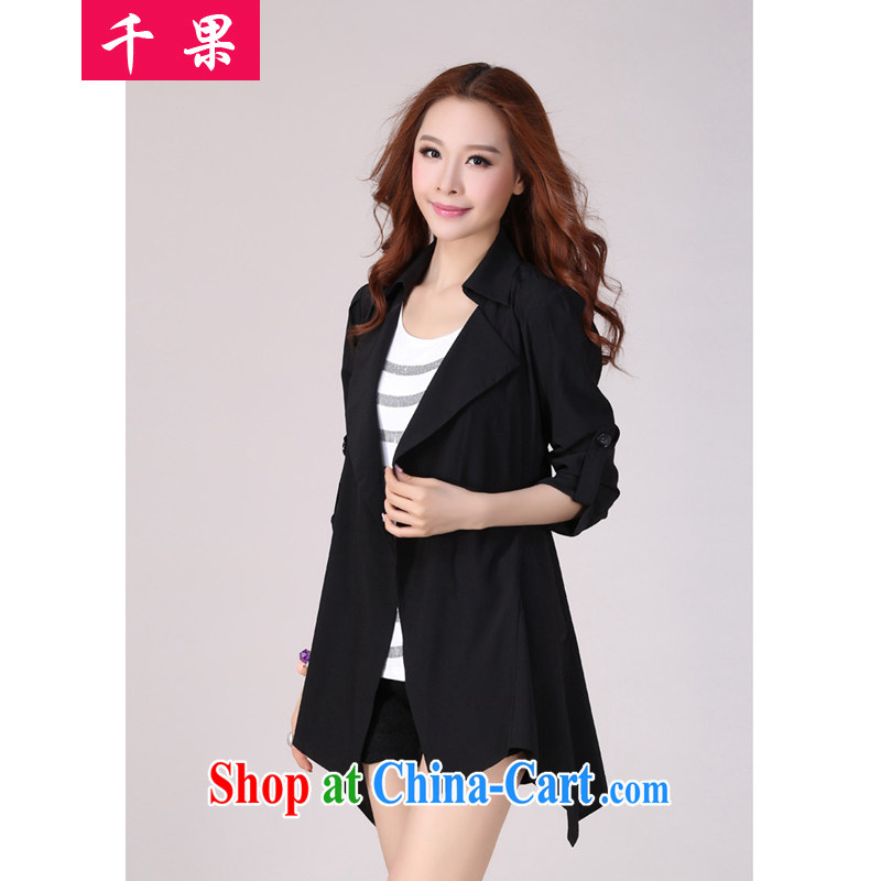 1000 if the load is increased, female 200 jack on 2015 mm long, spring and summer loose video thin casual clothing Korean jacket 9808 black 5 XL 185 - 200 Jack left and right