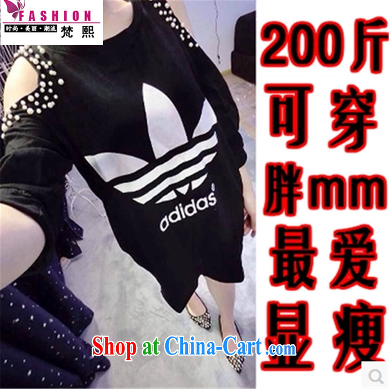 Van Gogh-hee 2015 summer Korean version of the new paragraph mm thick 200 jack to wear loose the code female stamp duty short-sleeved shirt T graphics thin T-shirt black XXL