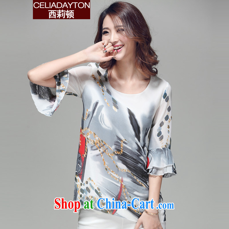 Cecilia Medina Quiroga and Macedonia is indeed increasing, female 2015 spring and summer with new thick mm stylish stamp loose lady, snow cuff woven shirts and Leisure 100 ground stripe T-shirt T-shirts, 5008 XXXXL