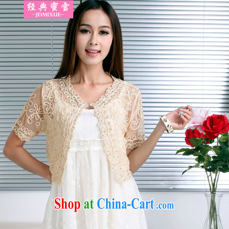 Classic honey snow 2015 the greatly, women's clothes and the Pearl lace yarn Web snow woven shirts on T-shirt, small shoulder shawl apricot XL code