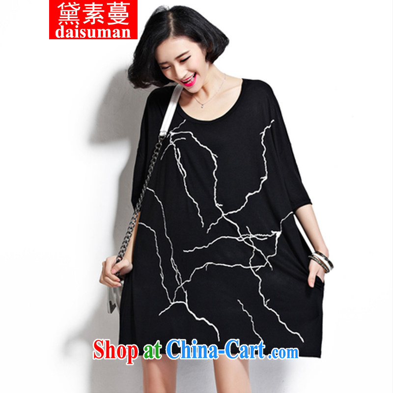 Diane of Mephidross 2015 spring and summer new Korean short-sleeved larger relaxed and comfortable 200 Jack thick MM T-shirt dress black large code are code