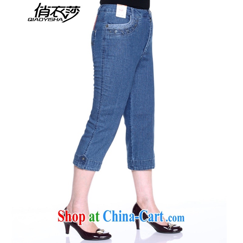 To Yi Windsor summer 2015 older women pants mother in high waist leisure jeans 7 pants King Size Code 3 feet QX 2069 819 light 38