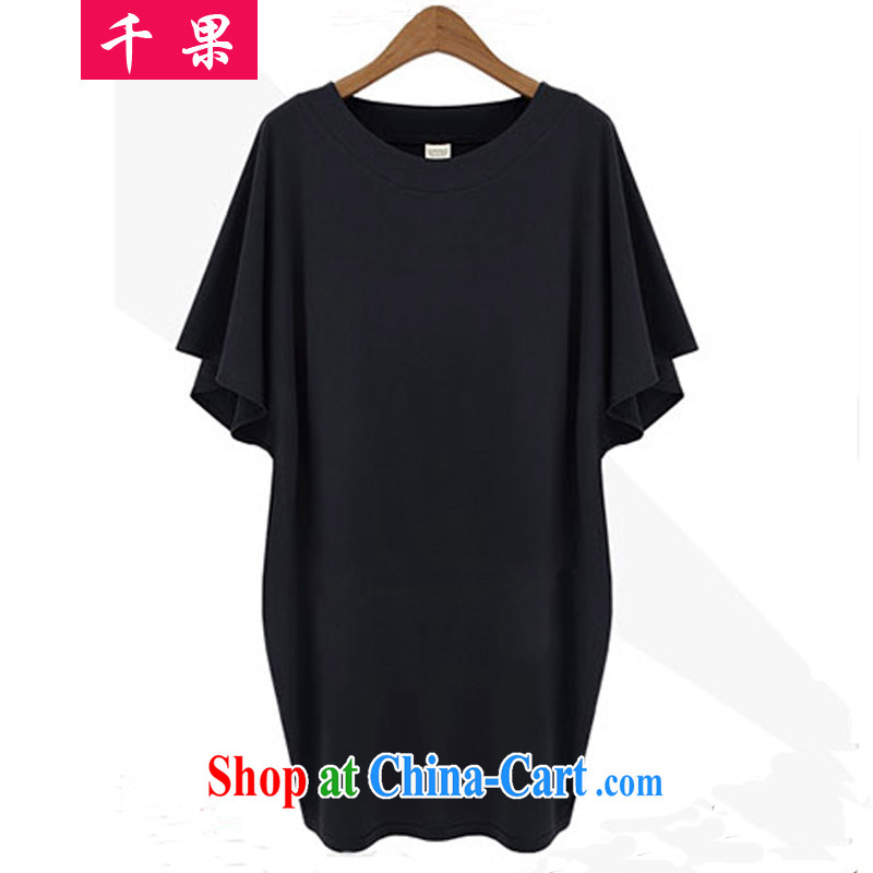 1000 fruit 2015 new summer king in Europe, female short-sleeved loose dress thick MM cultivating graphics thin solid skirt the Code women 855 black 5 XL